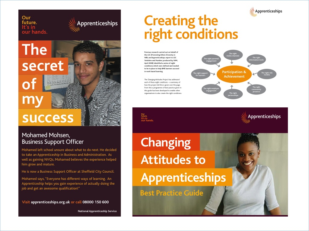 We delivered the Changing Attitudes project to increase the number of young people from BME communities taking up apprenticeships. We worked with schools, community groups and businesses and ran focus groups with young people to develop a promotional campaign. We also produced an electronic good practice guide.