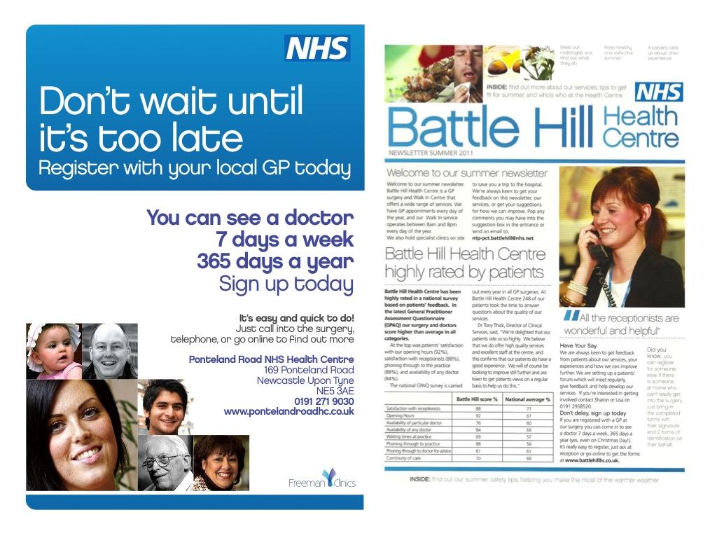 We helped NHS Health Centres with patient engagement through developing a series of leaflets, newsletters and events to help raise the profile of local centres and encourage people to register with a GP.