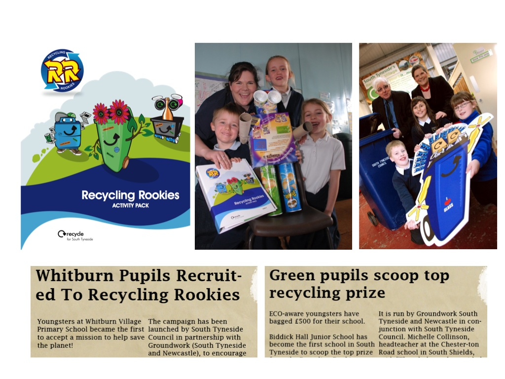 Working with Groundwork, South Tyneside Council and primary schools we developed the Recycling Rookies Club to get young people recycling. We developed an activity pack, interactive website, events and competitions and gained local media support.